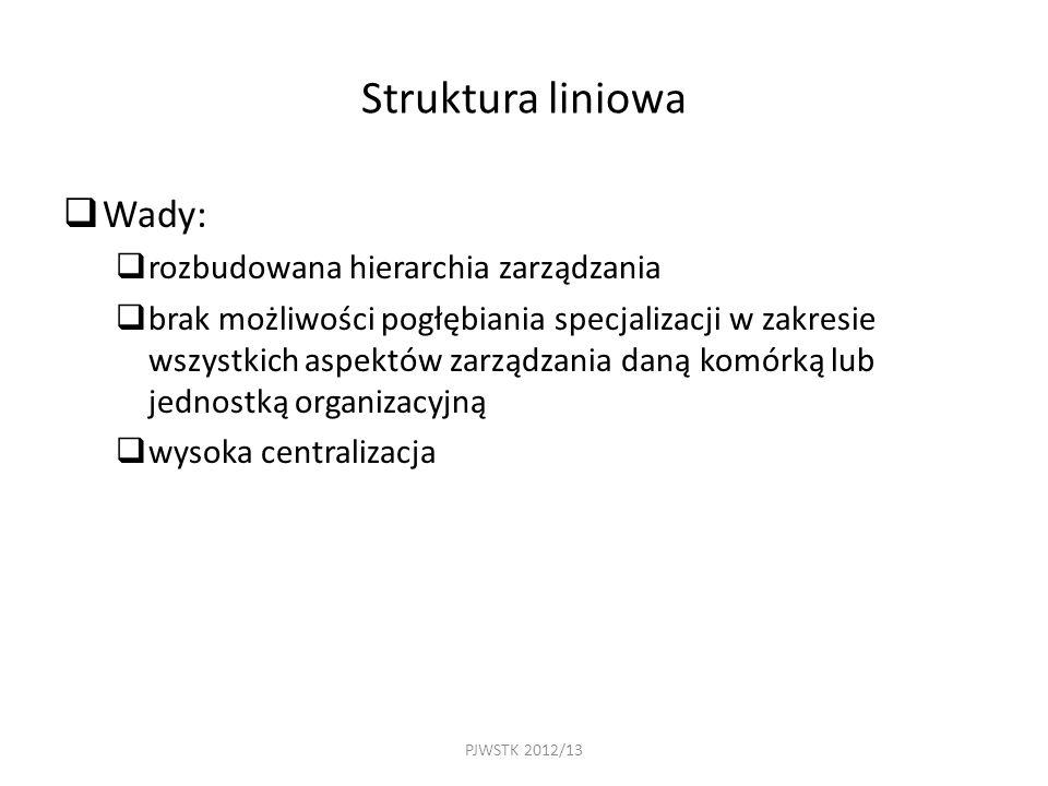 PJWSTK 2012/13 Struktura liniowa  Wady:  rozbudowana hierarchia zarządzania  brak możliwości pogłębiania specjalizacji w zakresie wszystkich aspektów zarządzania daną komórką lub jednostką organizacyjną  wysoka centralizacja