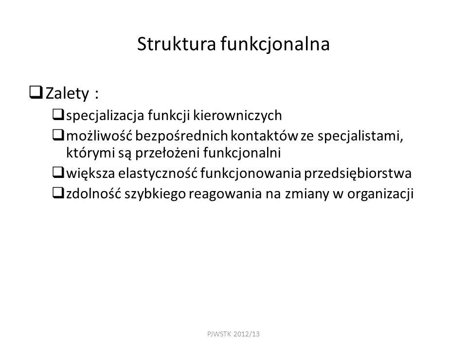PJWSTK 2012/13 Struktura funkcjonalna  Zalety :  specjalizacja funkcji kierowniczych  możliwość bezpośrednich kontaktów ze specjalistami, którymi są przełożeni funkcjonalni  większa elastyczność funkcjonowania przedsiębiorstwa  zdolność szybkiego reagowania na zmiany w organizacji