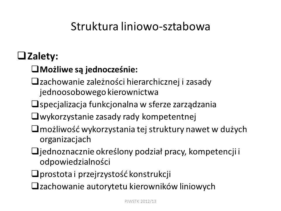 PJWSTK 2012/13 Struktura liniowo-sztabowa  Zalety:  Możliwe są jednocześnie:  zachowanie zależności hierarchicznej i zasady jednoosobowego kierownictwa  specjalizacja funkcjonalna w sferze zarządzania  wykorzystanie zasady rady kompetentnej  możliwość wykorzystania tej struktury nawet w dużych organizacjach  jednoznacznie określony podział pracy, kompetencji i odpowiedzialności  prostota i przejrzystość konstrukcji  zachowanie autorytetu kierowników liniowych