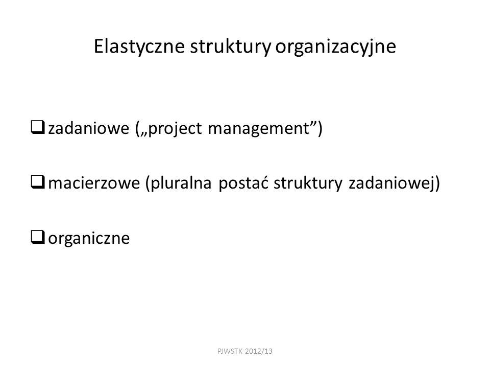 """PJWSTK 2012/13 Elastyczne struktury organizacyjne  zadaniowe (""""project management )  macierzowe (pluralna postać struktury zadaniowej)  organiczne"""