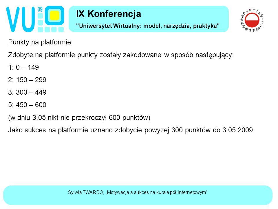 """Sylwia TWARDO, """"Motywacja a sukces na kursie pół-internetowym Punkty na platformie Zdobyte na platformie punkty zostały zakodowane w sposób następujący: 1: 0 – 149 2: 150 – 299 3: 300 – 449 5: 450 – 600 (w dniu 3.05 nikt nie przekroczył 600 punktów) Jako sukces na platformie uznano zdobycie powyżej 300 punktów do 3.05.2009."""