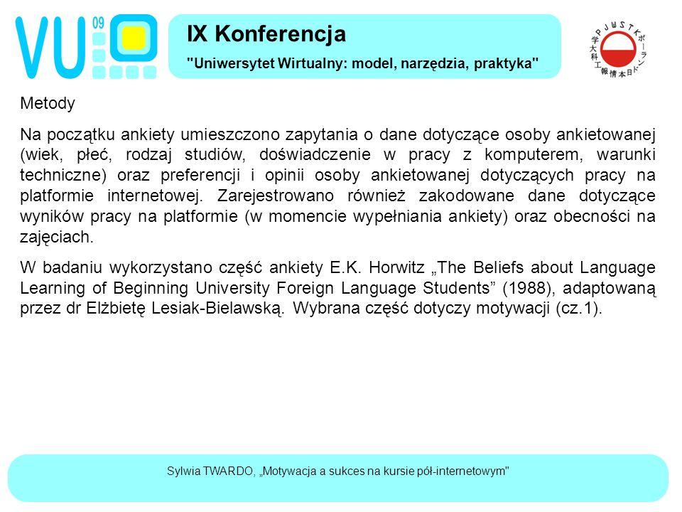 """Sylwia TWARDO, """"Motywacja a sukces na kursie pół-internetowym"""