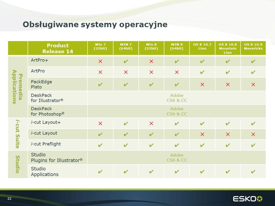 22 Obsługiwane systemy operacyjne