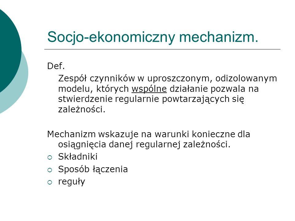 Socjo-ekonomiczny mechanizm. Def.