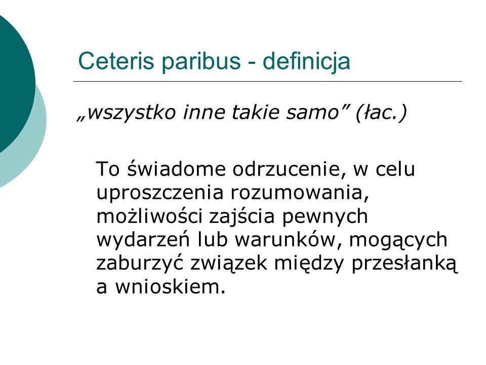 """Ceteris paribus - definicja """"wszystko inne takie samo (łac.) To świadome odrzucenie, w celu uproszczenia rozumowania, możliwości zajścia pewnych wydarzeń lub warunków, mogących zaburzyć związek między przesłanką a wnioskiem."""