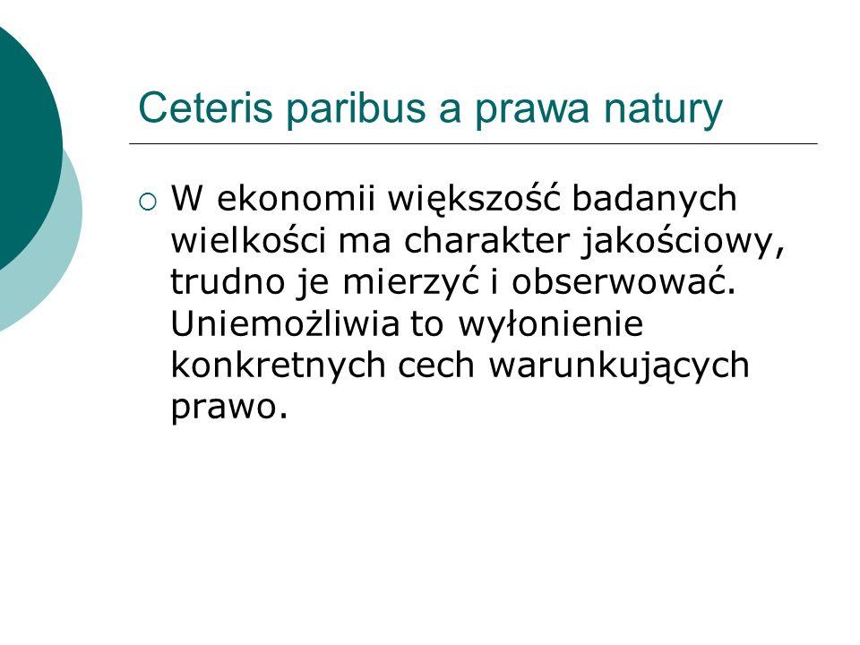 Ceteris paribus a prawa natury  W ekonomii większość badanych wielkości ma charakter jakościowy, trudno je mierzyć i obserwować.