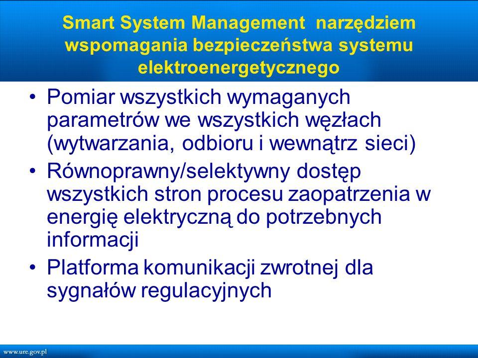 Smart System Management narzędziem wspomagania bezpieczeństwa systemu elektroenergetycznego Pomiar wszystkich wymaganych parametrów we wszystkich węzłach (wytwarzania, odbioru i wewnątrz sieci) Równoprawny/selektywny dostęp wszystkich stron procesu zaopatrzenia w energię elektryczną do potrzebnych informacji Platforma komunikacji zwrotnej dla sygnałów regulacyjnych