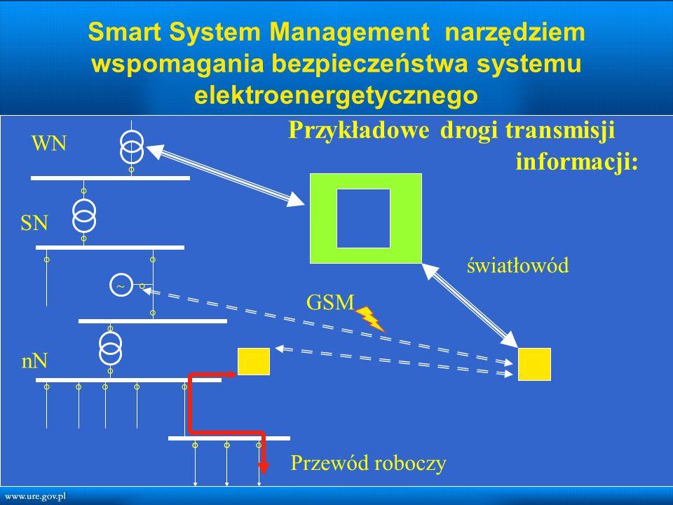 Smart System Management narzędziem wspomagania bezpieczeństwa systemu elektroenergetycznego nN ◦ ◦ ◦ ◦ ◦◦◦ ◦◦ ◦◦ ◦ ◦ ◦◦ ◦ ~ ◦◦◦ Przewód roboczy GSM światłowód SN WN Przykładowe drogi transmisji informacji: