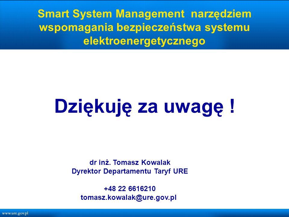 Smart System Management narzędziem wspomagania bezpieczeństwa systemu elektroenergetycznego Dziękuję za uwagę .