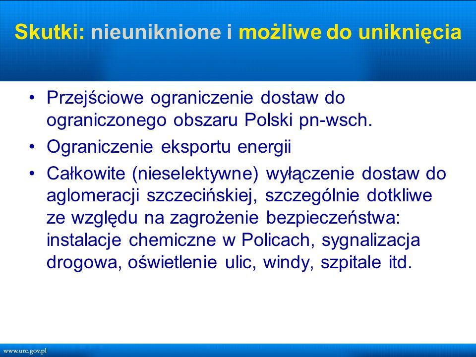 Skutki: nieuniknione i możliwe do uniknięcia Przejściowe ograniczenie dostaw do ograniczonego obszaru Polski pn-wsch.