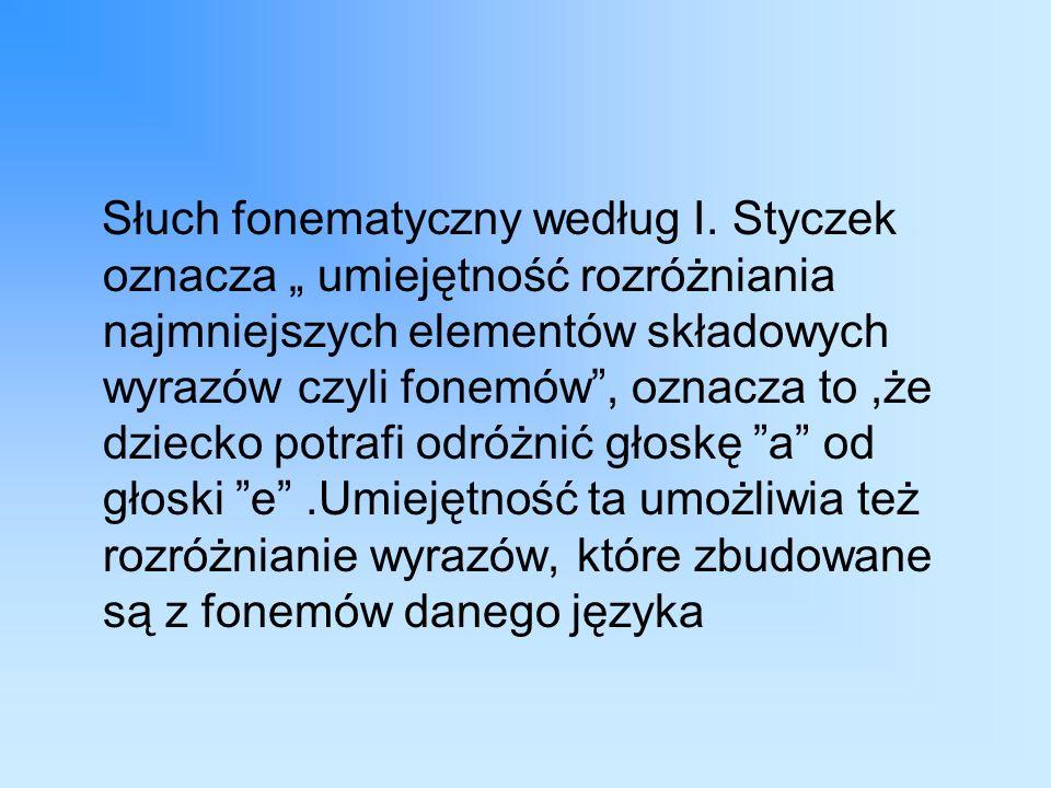 Słuch fonematyczny według I.