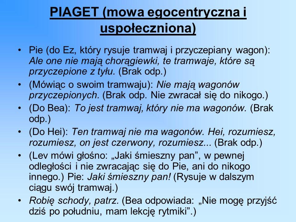 PIAGET (mowa egocentryczna i uspołeczniona) Pie (do Ez, który rysuje tramwaj i przyczepiany wagon): Ale one nie mają chorągiewki, te tramwaje, które są przyczepione z tyłu.