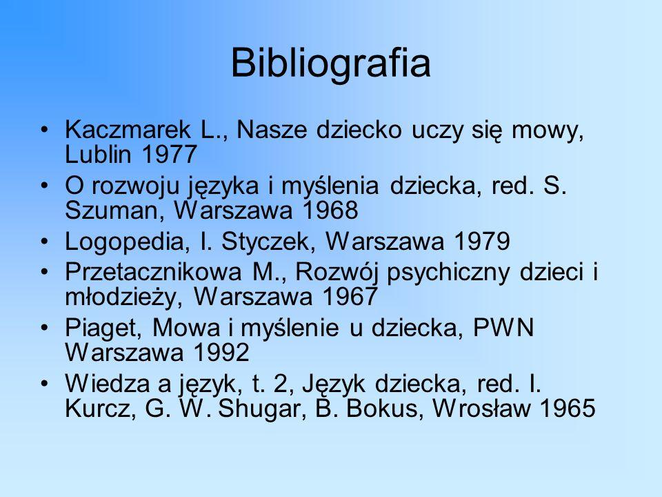 Bibliografia Kaczmarek L., Nasze dziecko uczy się mowy, Lublin 1977 O rozwoju języka i myślenia dziecka, red.