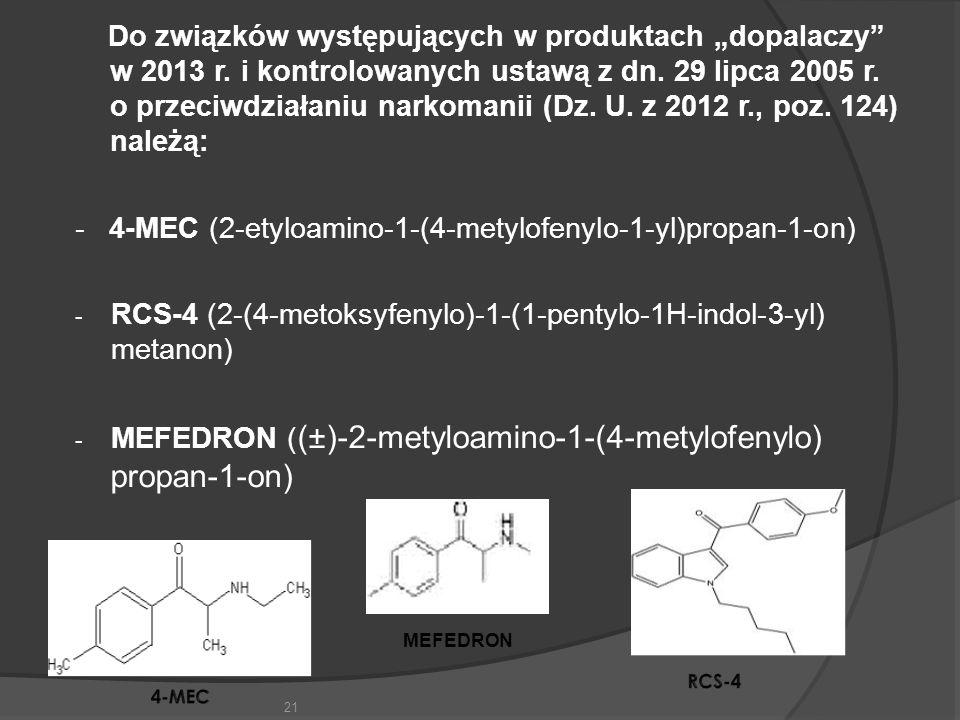 """Do związków występujących w produktach """"dopalaczy w 2013 r."""