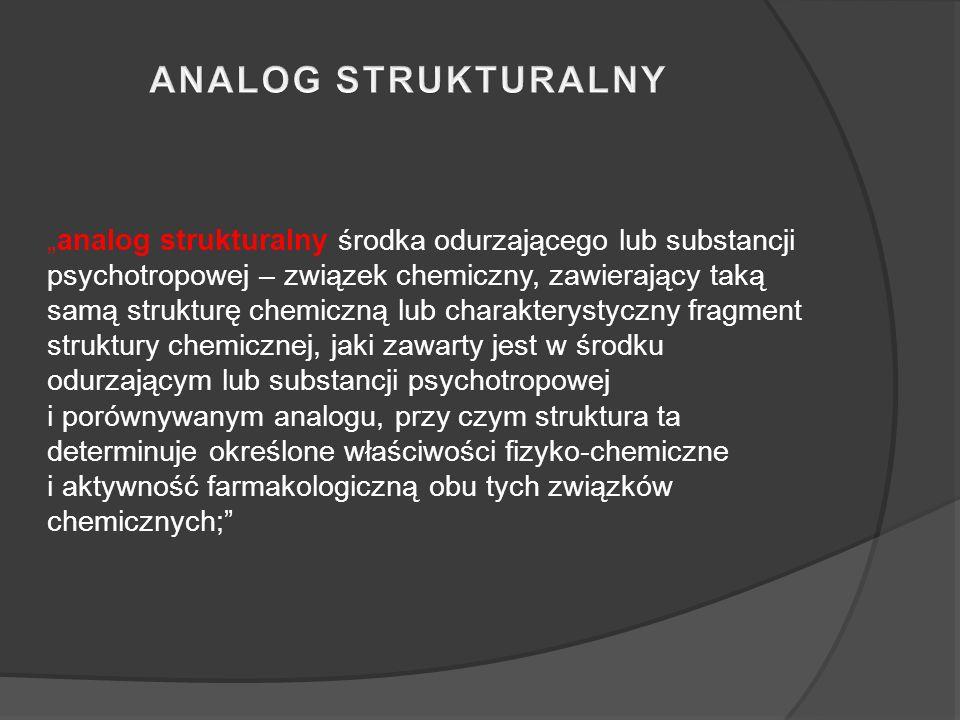 """""""analog strukturalny środka odurzającego lub substancji psychotropowej – związek chemiczny, zawierający taką samą strukturę chemiczną lub charakterystyczny fragment struktury chemicznej, jaki zawarty jest w środku odurzającym lub substancji psychotropowej i porównywanym analogu, przy czym struktura ta determinuje określone właściwości fizyko-chemiczne i aktywność farmakologiczną obu tych związków chemicznych;"""