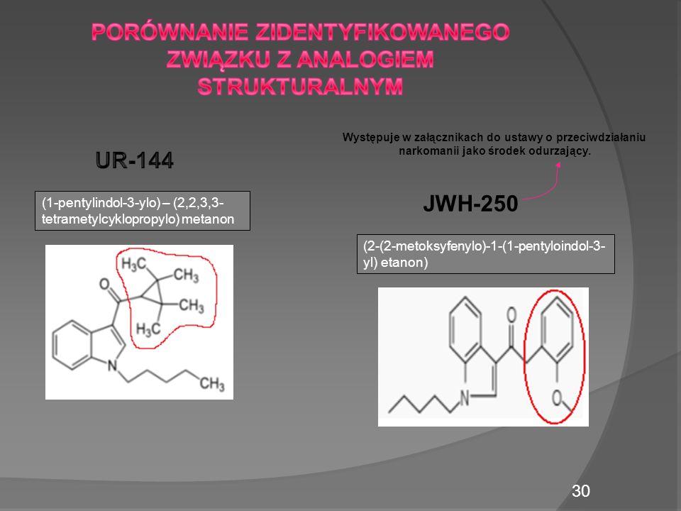 (1-pentylindol-3-ylo) – (2,2,3,3- tetrametylcyklopropylo) metanon JWH-250 (2-(2-metoksyfenylo)-1-(1-pentyloindol-3- yl) etanon) Występuje w załącznikach do ustawy o przeciwdziałaniu narkomanii jako środek odurzający.