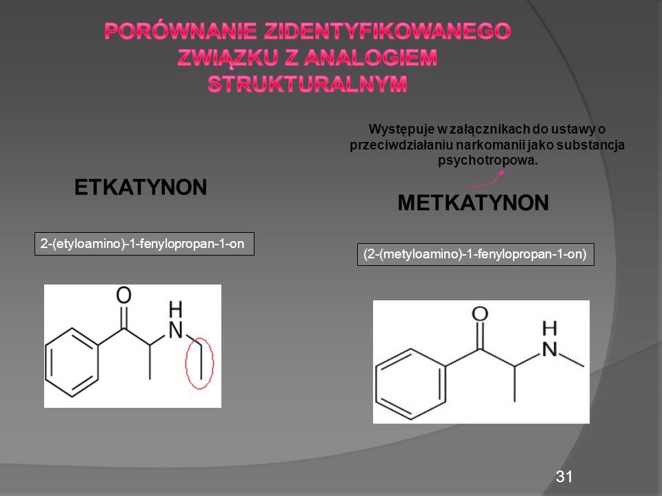 METKATYNON ETKATYNON 2-(etyloamino)-1-fenylopropan-1-on (2-(metyloamino)-1-fenylopropan-1-on) Występuje w załącznikach do ustawy o przeciwdziałaniu narkomanii jako substancja psychotropowa.