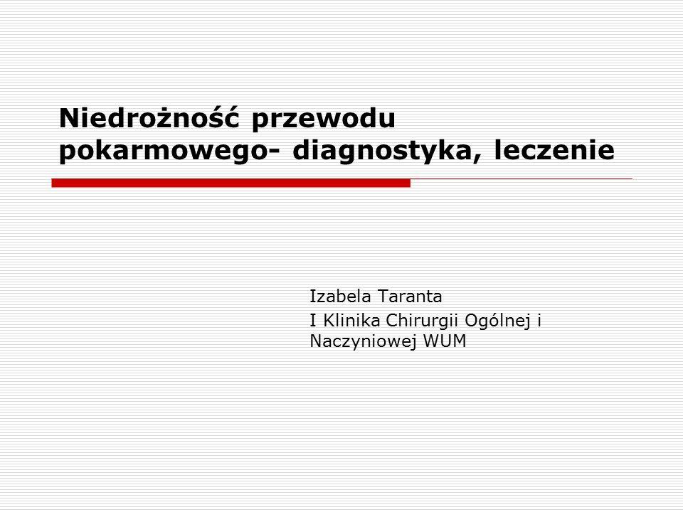 Niedrożność przewodu pokarmowego- diagnostyka, leczenie Izabela Taranta I Klinika Chirurgii Ogólnej i Naczyniowej WUM