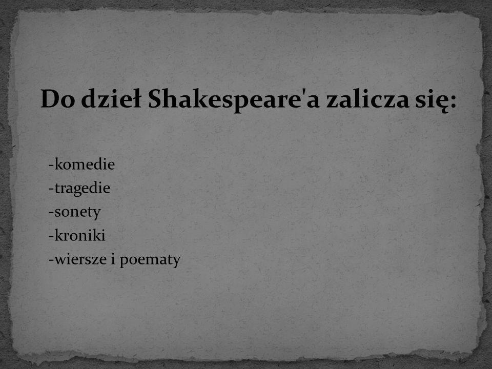 Do dzieł Shakespeare'a zalicza się: -komedie -tragedie -sonety -kroniki -wiersze i poematy
