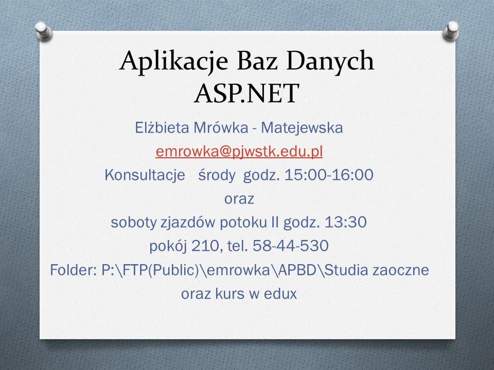 Aplikacje Baz Danych ASP.NET Elżbieta Mrówka - Matejewska emrowka@pjwstk.edu.pl Konsultacje środy godz. 15:00-16:00 oraz soboty zjazdów potoku II godz