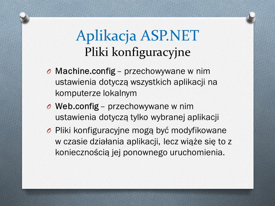 Aplikacja ASP.NET Pliki konfiguracyjne O Machine.config – przechowywane w nim ustawienia dotyczą wszystkich aplikacji na komputerze lokalnym O Web.config – przechowywane w nim ustawienia dotyczą tylko wybranej aplikacji O Pliki konfiguracyjne mogą być modyfikowane w czasie działania aplikacji, lecz wiąże się to z koniecznością jej ponownego uruchomienia.