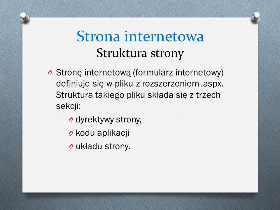 Strona internetowa Struktura strony O Stronę internetową (formularz internetowy) definiuje się w pliku z rozszerzeniem.aspx. Struktura takiego pliku s