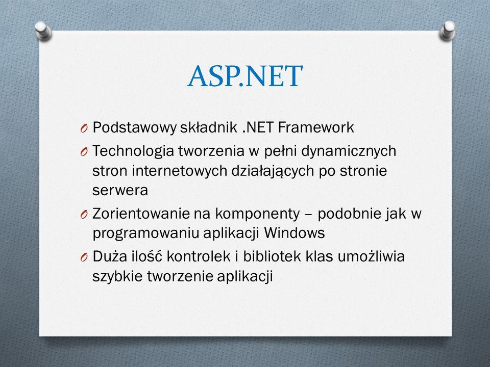 ASP.NET O Podstawowy składnik.NET Framework O Technologia tworzenia w pełni dynamicznych stron internetowych działających po stronie serwera O Zorient