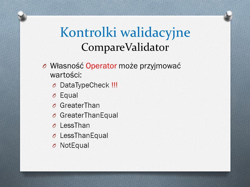 Kontrolki walidacyjne CompareValidator O Własność Operator może przyjmować wartości: O DataTypeCheck !!.