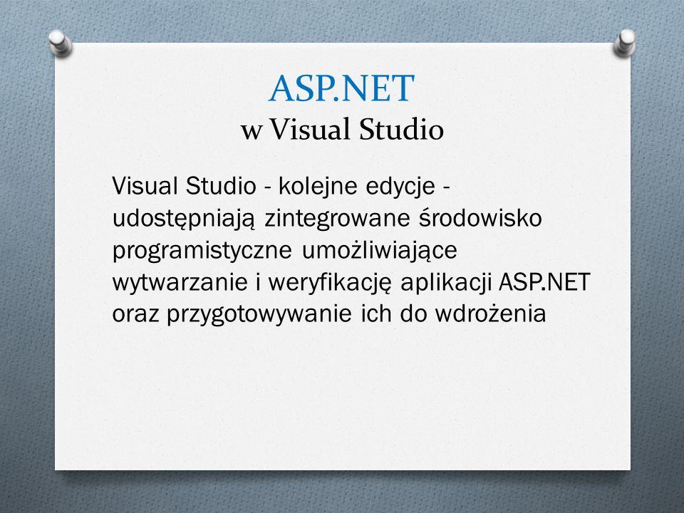 ASP.NET w Visual Studio Visual Studio - kolejne edycje - udostępniają zintegrowane środowisko programistyczne umożliwiające wytwarzanie i weryfikację