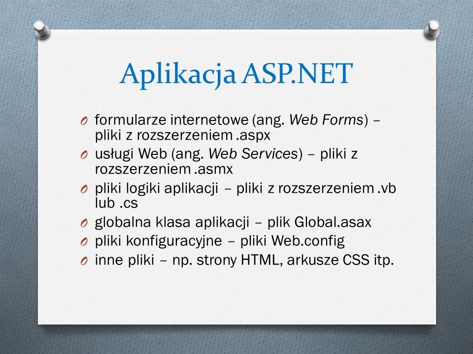 Aplikacja ASP.NET O formularze internetowe (ang. Web Forms) – pliki z rozszerzeniem.aspx O usługi Web (ang. Web Services) – pliki z rozszerzeniem.asmx