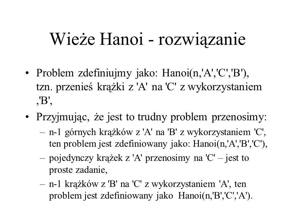 Wieże Hanoi - rozwiązanie Problem zdefiniujmy jako: Hanoi(n,'A','C','B'), tzn. przenieś krążki z 'A' na 'C' z wykorzystaniem,'B', Przyjmując, że jest