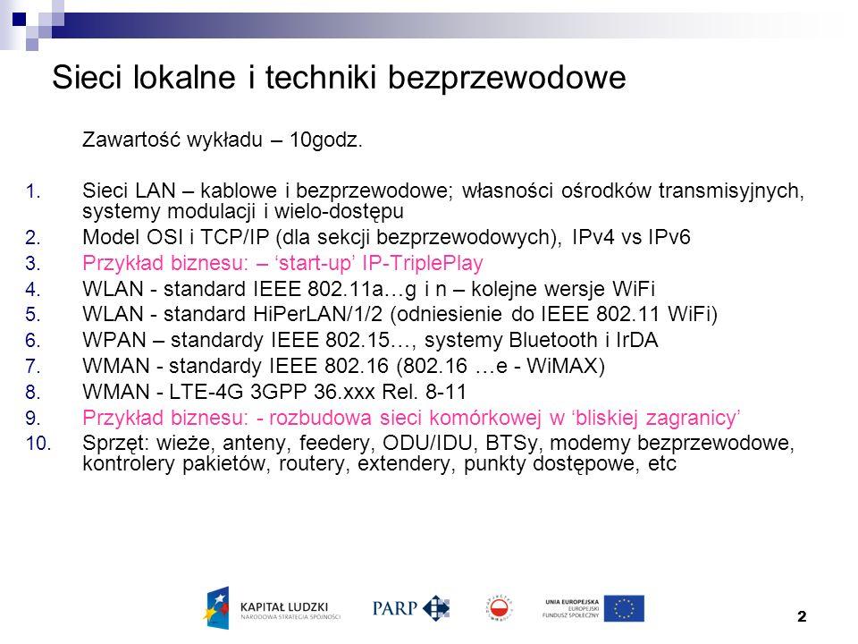 2 Sieci lokalne i techniki bezprzewodowe Zawartość wykładu – 10godz.