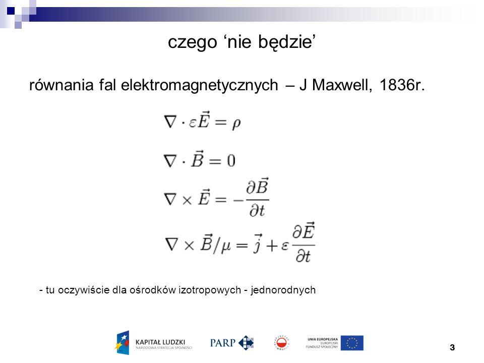 3 czego 'nie będzie' równania fal elektromagnetycznych – J Maxwell, 1836r.