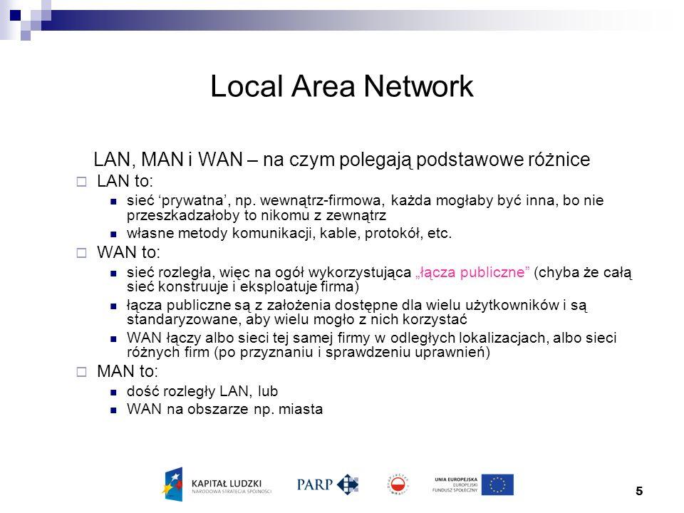 5 Local Area Network LAN, MAN i WAN – na czym polegają podstawowe różnice  LAN to: sieć 'prywatna', np.