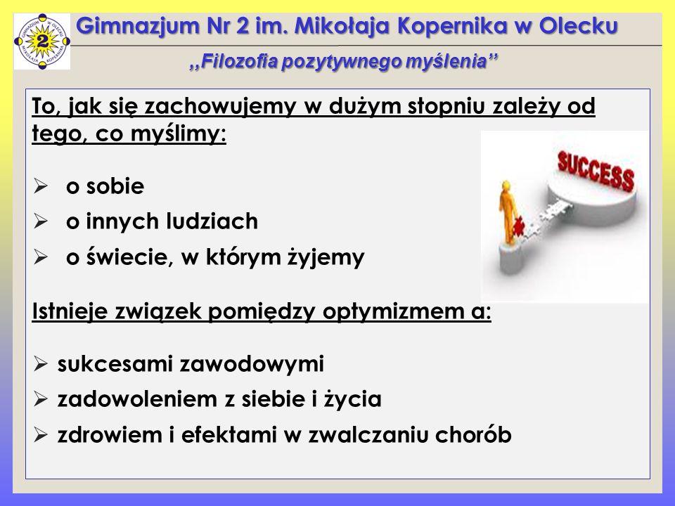 Gimnazjum Nr 2 im. Mikołaja Kopernika w Olecku To, jak się zachowujemy w dużym stopniu zależy od tego, co myślimy:  o sobie  o innych ludziach  o ś