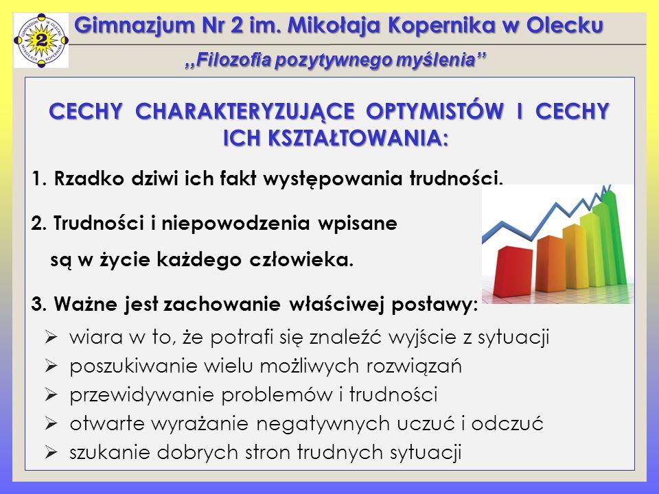 Gimnazjum Nr 2 im. Mikołaja Kopernika w Olecku CECHY CHARAKTERYZUJĄCE OPTYMISTÓW I CECHY ICH KSZTAŁTOWANIA: 1. Rzadko dziwi ich fakt występowania trud