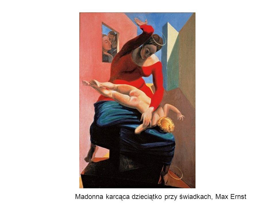 Madonna karcąca dzieciątko przy świadkach, Max Ernst
