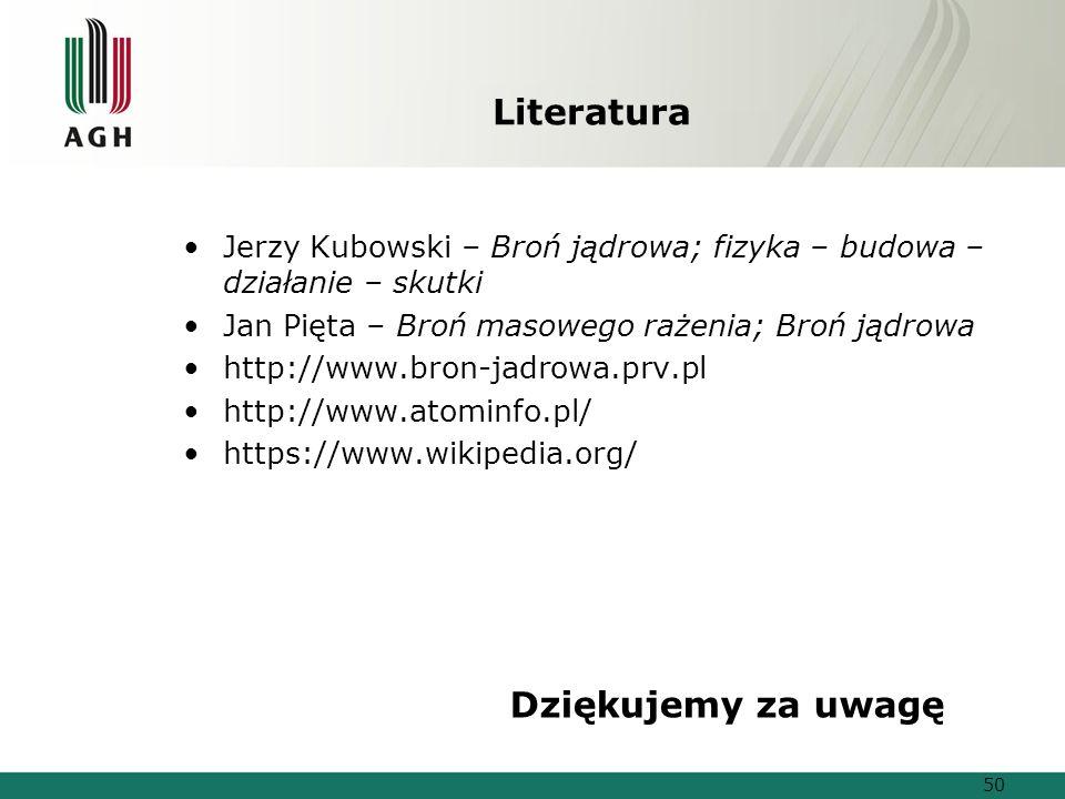 Literatura Jerzy Kubowski – Broń jądrowa; fizyka – budowa – działanie – skutki Jan Pięta – Broń masowego rażenia; Broń jądrowa http://www.bron-jadrowa.prv.pl http://www.atominfo.pl/ https://www.wikipedia.org/ 50 Dziękujemy za uwagę