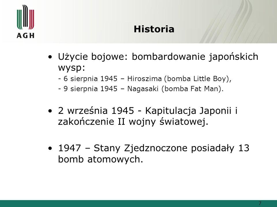 Historia Użycie bojowe: bombardowanie japońskich wysp: - 6 sierpnia 1945 – Hiroszima (bomba Little Boy), - 9 sierpnia 1945 – Nagasaki (bomba Fat Man).