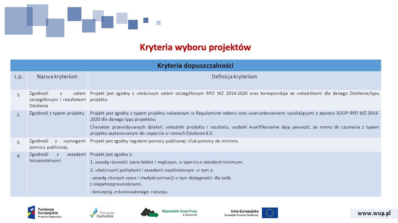 www.wup.pl Kryteria wyboru projektów Kryteria dopuszczalności L.p.Nazwa kryteriumDefinicja kryterium 1.