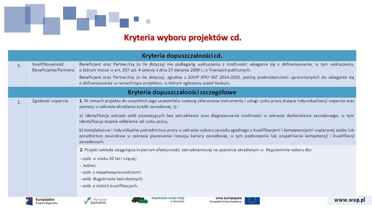 www.wup.pl Kryteria wyboru projektów cd. Kryteria dopuszczalności cd.