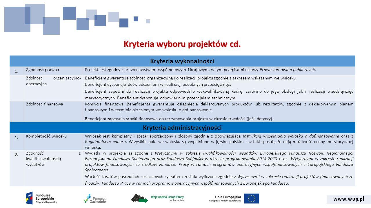 www.wup.pl Kryteria wyboru projektów cd. Kryteria wykonalności 1.