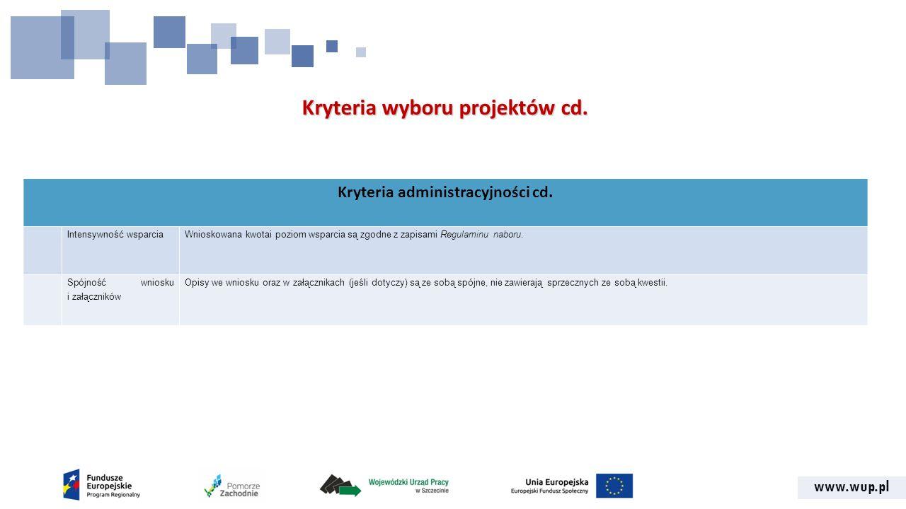 www.wup.pl Kryteria wyboru projektów cd. Kryteria administracyjności cd.