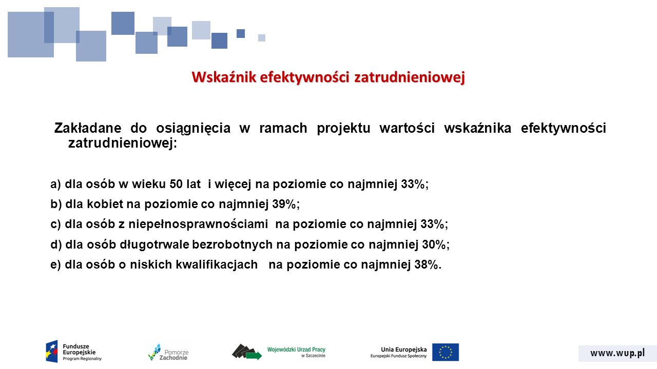 www.wup.pl Wskaźnik efektywności zatrudnieniowej Zakładane do osiągnięcia w ramach projektu wartości wskaźnika efektywności zatrudnieniowej: a) dla osób w wieku 50 lat i więcej na poziomie co najmniej 33%; b) dla kobiet na poziomie co najmniej 39%; c) dla osób z niepełnosprawnościami na poziomie co najmniej 33%; d) dla osób długotrwale bezrobotnych na poziomie co najmniej 30%; e) dla osób o niskich kwalifikacjach na poziomie co najmniej 38%.