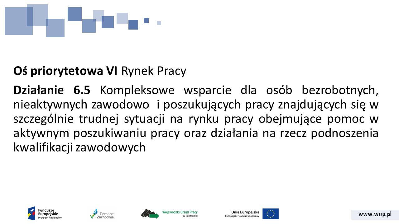 www.wup.pl Oś priorytetowa VI Rynek Pracy Działanie 6.5 Kompleksowe wsparcie dla osób bezrobotnych, nieaktywnych zawodowo i poszukujących pracy znajdujących się w szczególnie trudnej sytuacji na rynku pracy obejmujące pomoc w aktywnym poszukiwaniu pracy oraz działania na rzecz podnoszenia kwalifikacji zawodowych
