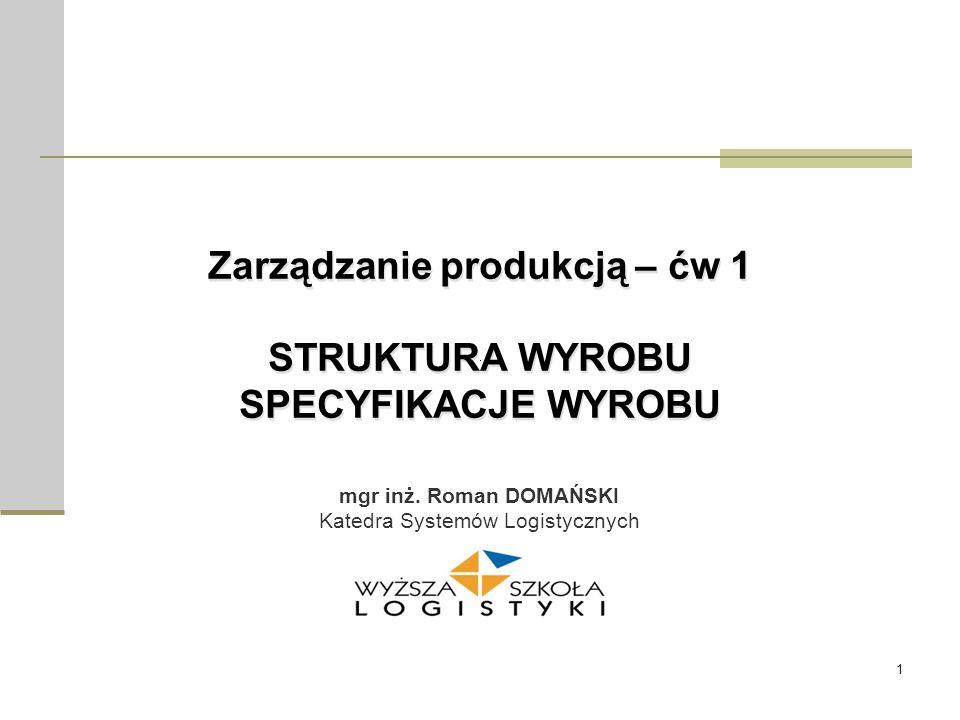 1 Zarządzanie produkcją – ćw 1 STRUKTURA WYROBU SPECYFIKACJE WYROBU mgr inż. Roman DOMAŃSKI Katedra Systemów Logistycznych
