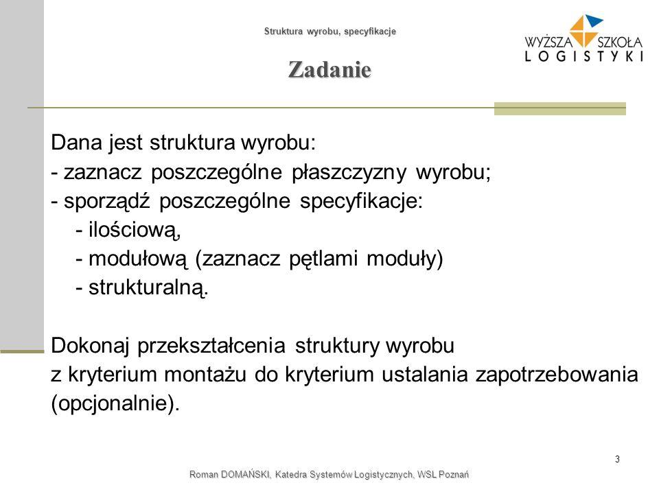 3 Struktura wyrobu, specyfikacje Roman DOMAŃSKI, Katedra Systemów Logistycznych, WSL Poznań Zadanie Dana jest struktura wyrobu: - zaznacz poszczególne