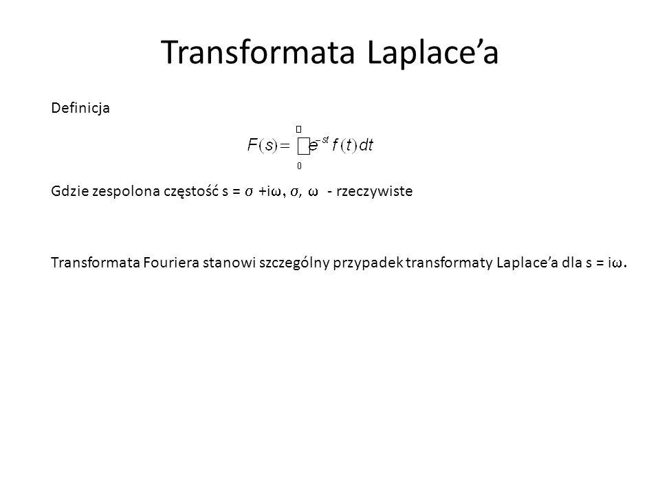 Transformata Laplace'a Definicja Gdzie zespolona częstość s =  +i ,  - rzeczywiste Transformata Fouriera stanowi szczególny przypadek transform