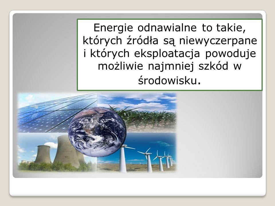 """Zgodnie z Ustawą Prawa Energetycznego """"odnawialne źródło energii to źródło wykorzystujące w procesie przetwarzania energię wiatru, promieniowania słonecznego, geotermalną, fal, prądów i pływów morskich, spadku rzek oraz energię pozyskiwaną z biomasy, biogazu powstałego w procesach odprowadzania lub oczyszczania ścieków albo rozkładu składowanych szczątek roślinnych i zwierzęcych. ENERGIA ODNAWIALNA – PRAWO POLSKIE"""