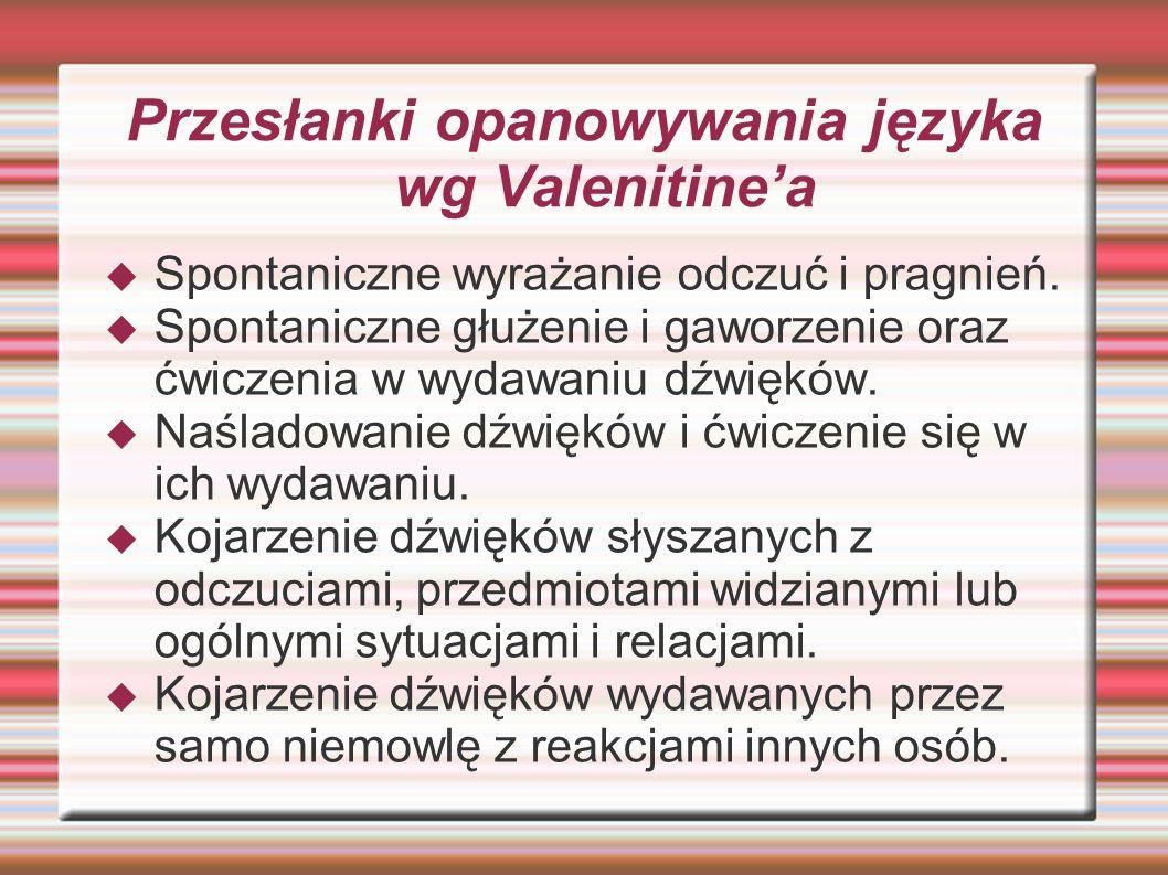 Przesłanki opanowywania języka wg Valenitine'a  Spontaniczne wyrażanie odczuć i pragnień.  Spontaniczne głużenie i gaworzenie oraz ćwiczenia w wydaw